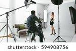 young beautiful female model... | Shutterstock . vector #594908756