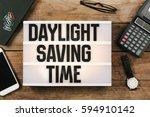 daylight saving time in vintage ... | Shutterstock . vector #594910142