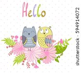 card with cartoon owls in... | Shutterstock .eps vector #594914072