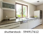 kitchen in bright colors with... | Shutterstock . vector #594917612