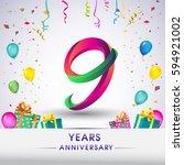 9th anniversary celebration... | Shutterstock .eps vector #594921002