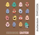 easter egg character emoji set. ... | Shutterstock .eps vector #594921026