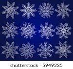 twelve vector snowflakes. | Shutterstock .eps vector #5949235