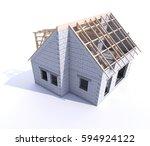 house under construction... | Shutterstock . vector #594924122