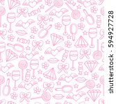 pink seamless pattern for girls ... | Shutterstock .eps vector #594927728