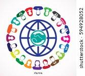 round table meeting  handshake | Shutterstock .eps vector #594928052