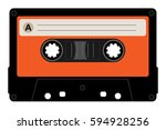 retro cassette with blank label....   Shutterstock .eps vector #594928256