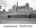 monument to vittorio emmanuelle ... | Shutterstock . vector #594937562