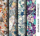 set of tracery colorful... | Shutterstock .eps vector #594948212