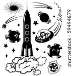 cute space silhouettes  vector...   Shutterstock .eps vector #59494879