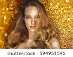 shine make up of beauty young... | Shutterstock . vector #594951542