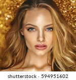 shine make up of beauty young... | Shutterstock . vector #594951602