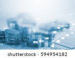 double exposure rows of coins... | Shutterstock . vector #594954182