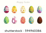 happy easter.set of easter eggs ... | Shutterstock .eps vector #594960386