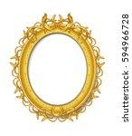 oval vintage gold picture frame | Shutterstock .eps vector #594966728