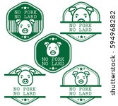 set of no pork no lard sticker... | Shutterstock .eps vector #594968282