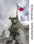 Small photo of Statue on Monumento Nazionale a Vittorio Emanuele II or Altare della Patria (Altar of the Fatherland), Rome, Italy.