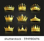 isolated golden color crowns... | Shutterstock .eps vector #594980696