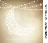 ornamental arabic half moon... | Shutterstock .eps vector #594981626