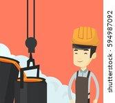 asian steelworker in a hardhat... | Shutterstock .eps vector #594987092