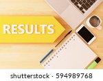 results   linear text arrow...   Shutterstock . vector #594989768