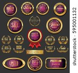 golden badges and labels... | Shutterstock .eps vector #595001132