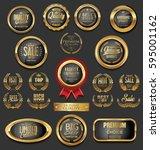 golden badges and labels... | Shutterstock .eps vector #595001162
