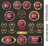 golden badges and labels... | Shutterstock .eps vector #595001456