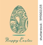 easter greeting with colorful... | Shutterstock .eps vector #595002155