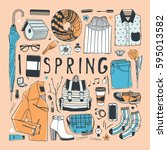 hand drawn fashion illustration.... | Shutterstock .eps vector #595013582