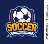 soccer championship logo ... | Shutterstock .eps vector #595013612
