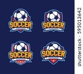 soccer championship logo ... | Shutterstock .eps vector #595013642