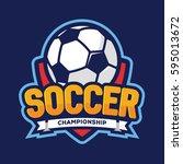 soccer championship logo ... | Shutterstock .eps vector #595013672
