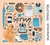 hand drawn fashion illustration.... | Shutterstock .eps vector #595013708