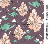 delicate floral seamless... | Shutterstock .eps vector #595017506