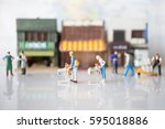 miniature people with shopping... | Shutterstock . vector #595018886