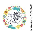 happy easter greeting card.... | Shutterstock .eps vector #595027472