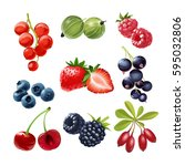 set of icons juicy ripe berries | Shutterstock . vector #595032806