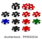 poker chips set isolated on... | Shutterstock .eps vector #595033316
