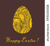 easter greeting card vector... | Shutterstock .eps vector #595035008