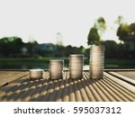 silver coin stack in business... | Shutterstock . vector #595037312