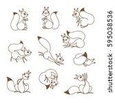 cartoon cute squirrel. little... | Shutterstock .eps vector #595038536