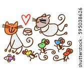 Cats And Mice. Heart. Animals....