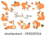thank you card with cute... | Shutterstock .eps vector #595039526