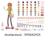 teenager girl character... | Shutterstock .eps vector #595042925