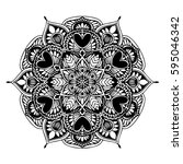 mandalas for coloring book.... | Shutterstock .eps vector #595046342