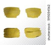 vector gold paint smear stroke... | Shutterstock .eps vector #595054562