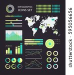 world map infographic. vector... | Shutterstock .eps vector #595056656