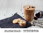 coffee drink. ice latte on the...   Shutterstock . vector #595058906