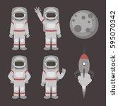 astronauts characters set | Shutterstock .eps vector #595070342